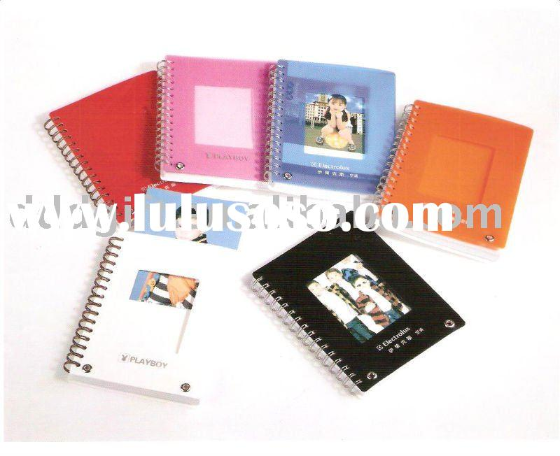 transparent plastic cover spiral notebook with photo frame