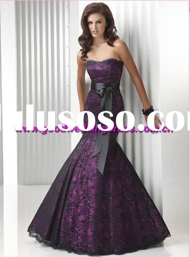 wholesale best selling lace strapless black sash up hand made evening dress/evening gown/ladies&