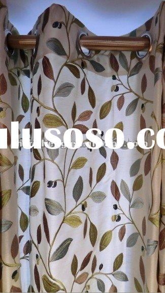 100% polyester faux silk leaf design embroidery curtain