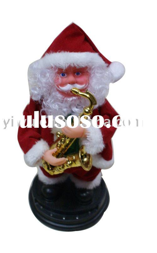 "10"" flashing santa claus with sax music"