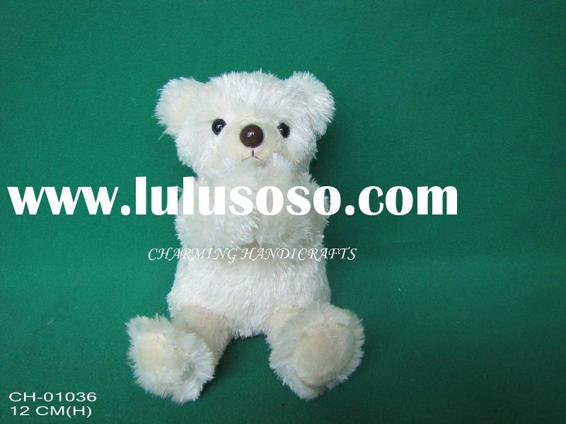 12cm plush toy sitting bear with magnets in hands, stuffed soft teddy bear