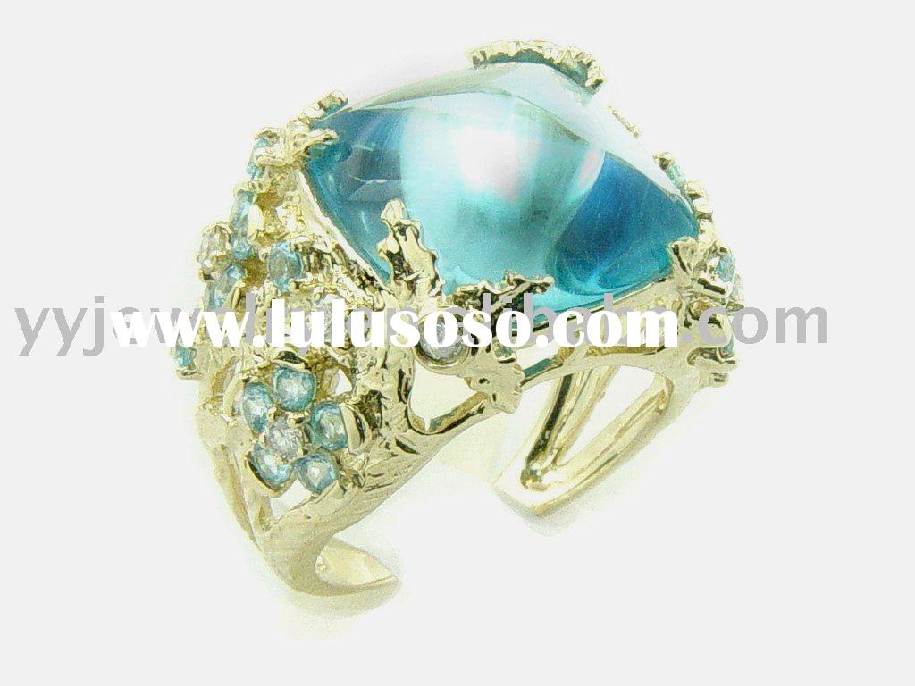 14KY gold diamond ring with cushion blue topaz,ring mounting, gemstone jewelery,gold ring