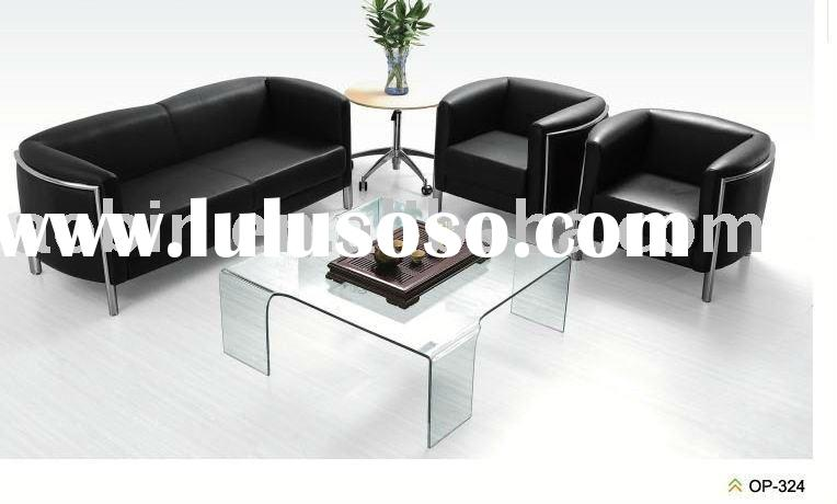 2010 High Quality Black Leather Sofa Set Designs OP-324