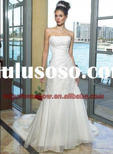 2011 New Arrival Off-shoulder Beaded Crystal White Wedding Dresses
