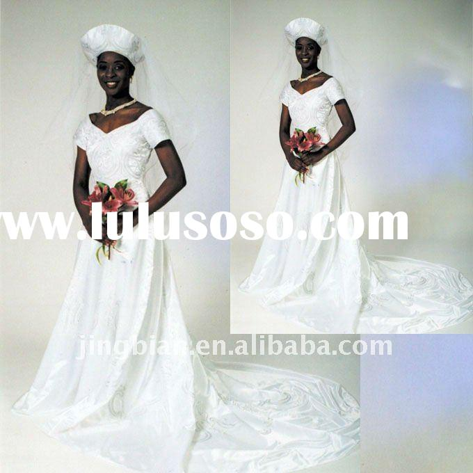 2011 full length gorgeous African Wedding Dress with elaborate embroidery stitched onto bodice White