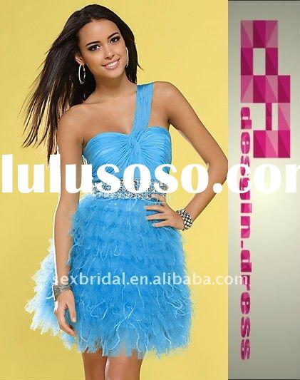 2011 hot sell one shoulder sweetheart turquoise chiffon sequins beaded waistline ruffles feather pro