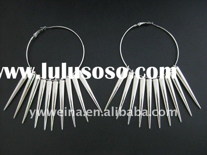 2012 Fashion Silver Color Spacer & Spike Beads Hoop Earrings