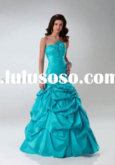 2012 New Style Strapless Turquoise Ball Gown Prom Dresses