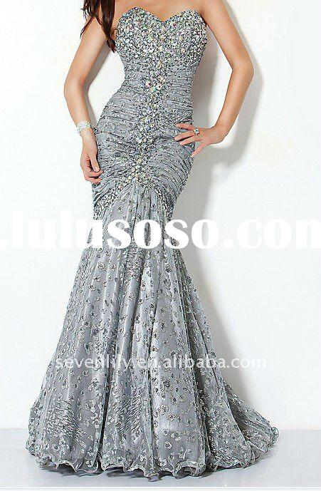 2012 fanshion style best selling strapless sequin grey mermaid fishtail evening dresses for muslim