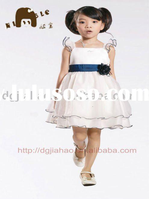 2012 trendy sapphire blue popular organza party dress for kids F10181