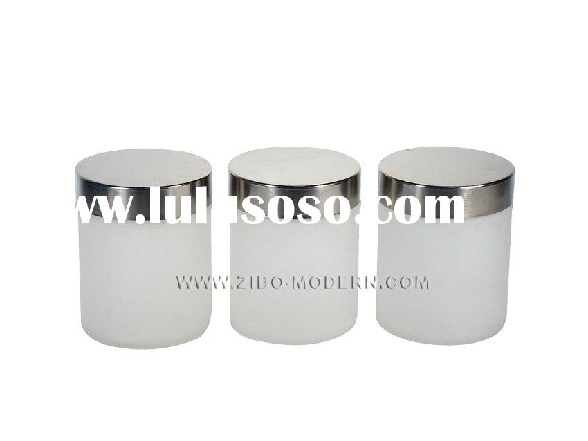 3pc Frosted Round Glass Jar