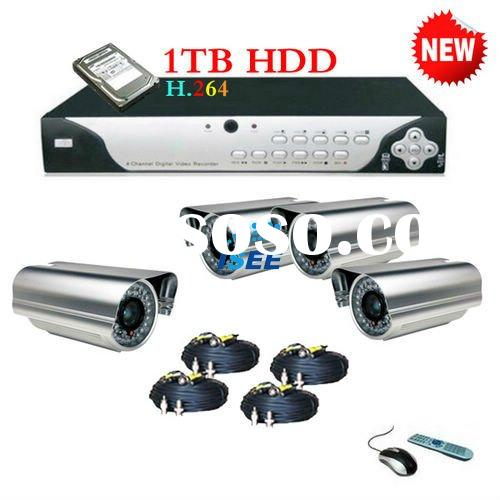 4CH DVR with CCTV 4 CCTV Camera with IR Cut Filter system using for Car Parking