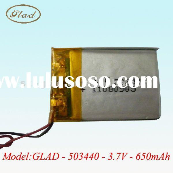 503440 rechargeable 3.7V lithium polymer battery packs 650mAh