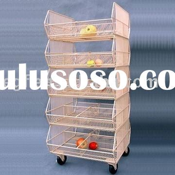 5 Tier Rolling Metal Wire Stacking Baskets
