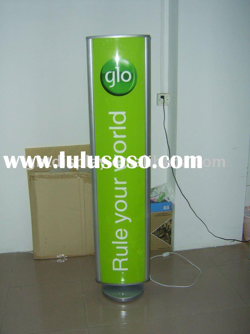 Advertising floor rotating light box two sides display from factory