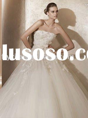 Ball Gown Strapless Chapel Train Tulle Satin Embroidery Wedding Dress