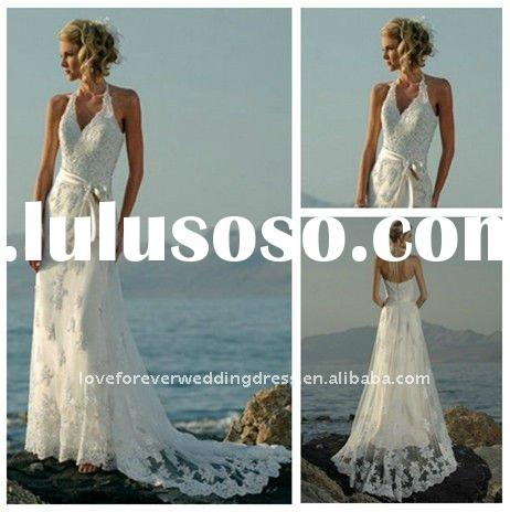 Beach Casual White Halter Lace Wedding Dress Low Back