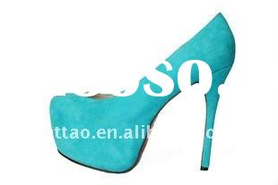 Blue Suede Big Size Women Shoes/Lady Daffodil Pumps