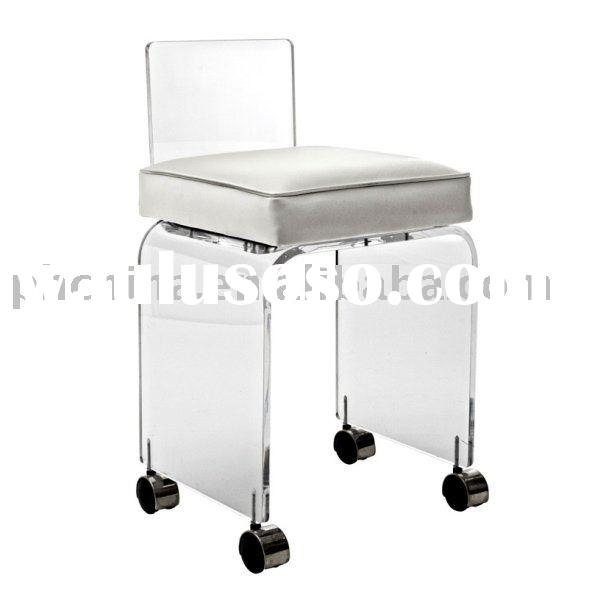 Clear Acrylic Vanity Stool With Leatherette Cushion;Clear Acrylic Small Vanity Stool with wheels