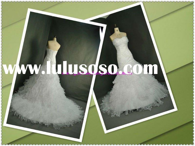 Custom Made Real Picture Classic Organza Off Shoulder Appliques Mermaid Lastest Wedding Dress Design