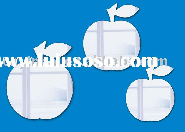 Decorative apple shape wall mirror sticker