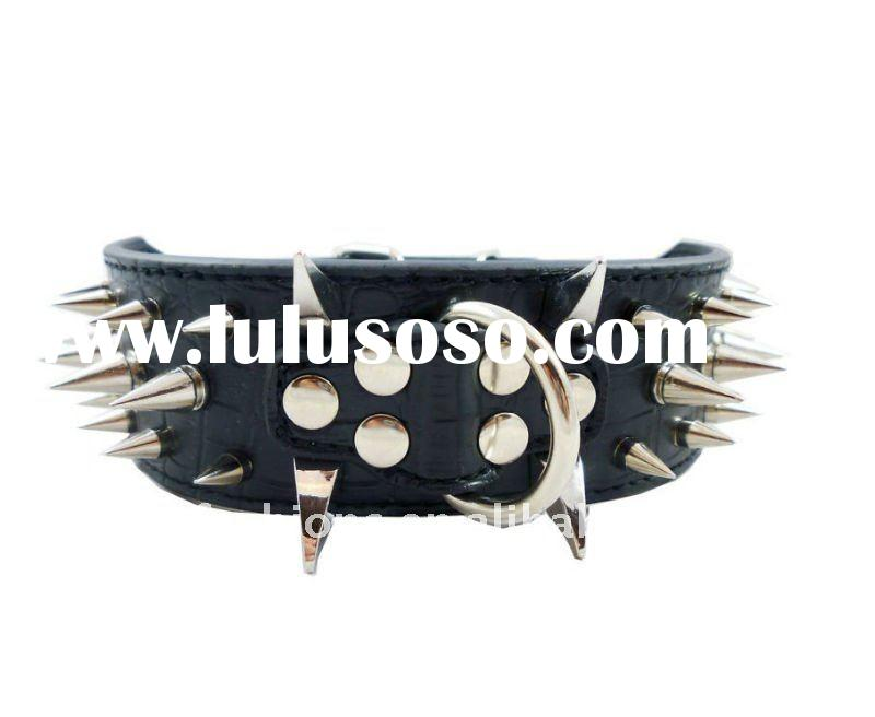 Double-Ply Faux Croc Leather Spiked Dog Collar