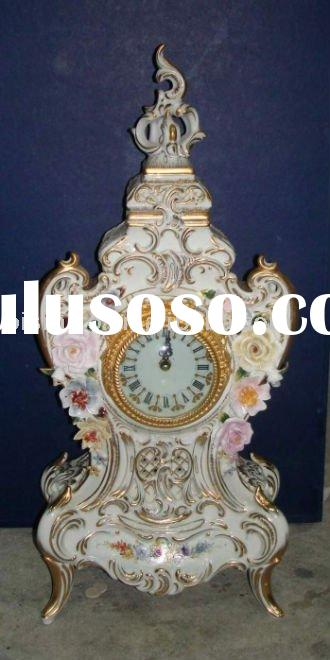 European antique ceramic table clock,home decoration clock, porcelain art, 21inch height,MOQ:1PC(B15
