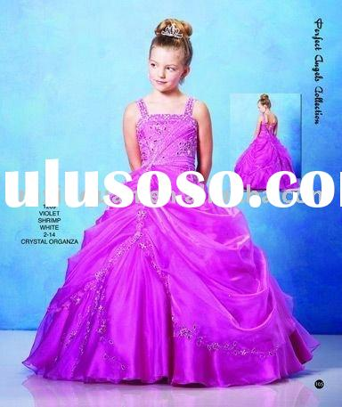 FG031 Free Shipping spaghetti strap beaded ball gown purple party dress for children