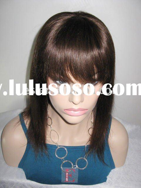 Fashion Wig Indian Remy stcok lace wigs with Bang