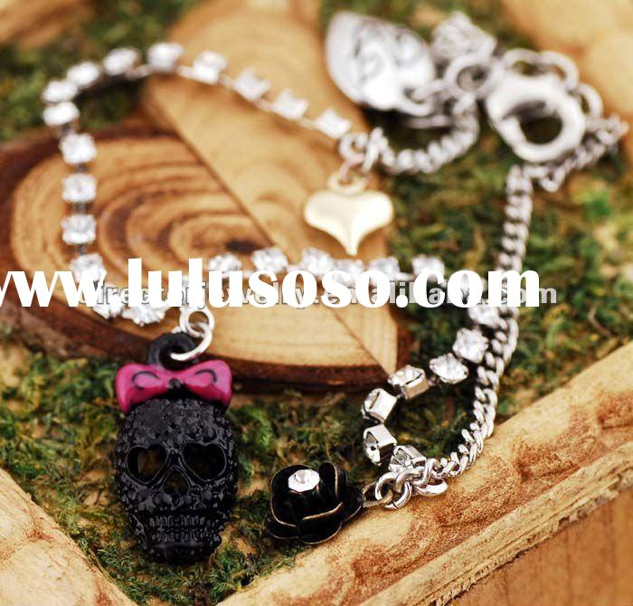 Fashion costume jewelry skull chain ring bracelet connected