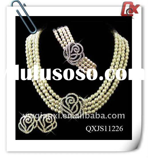 Fashion indian bridal pearl necklace jewellery sets (QXJS11226)