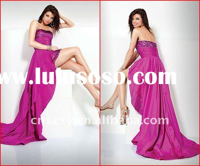Fashion style Strapless Short Front Long Back Sequin Evening Dresses