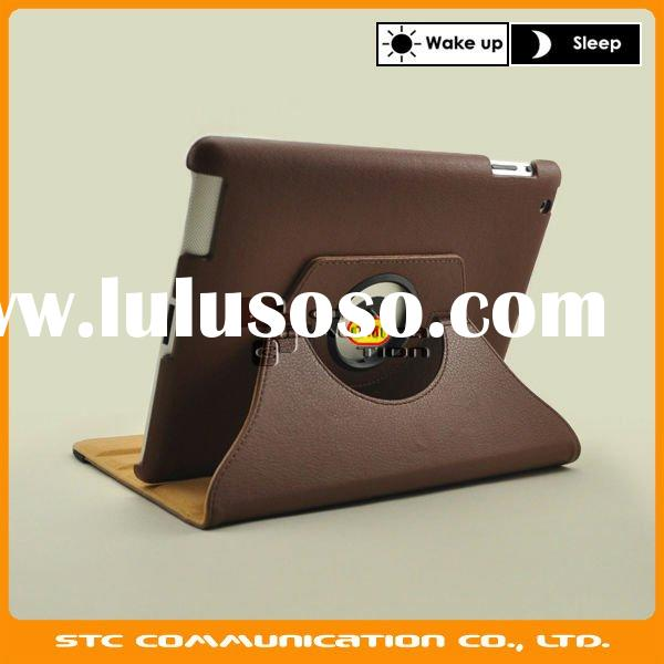 For iPad 2 case, for iPad2 leather case, 360 degree rotating with stand, with auto sleep and wake up