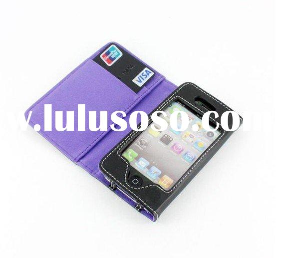 For iphone 4 Leather Case Wallet ID Credit Card Case
