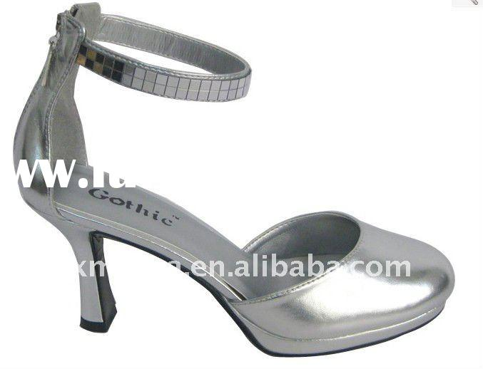 Foxy Silver PU with ankel strap has square sequin fashion high heels/ladies fashion shoes