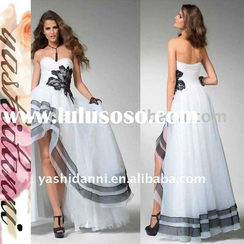 Free shipping! hot sale! strapless backless short front long back evening dress
