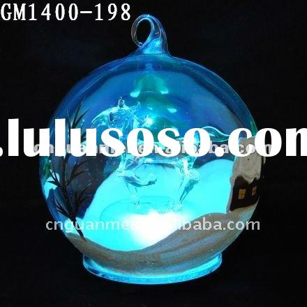 Glass christmas decorated ball with LED changing light