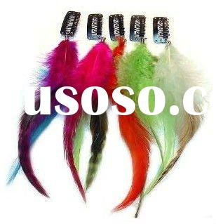 HOT!!2011 hot top real feather for hair with clip