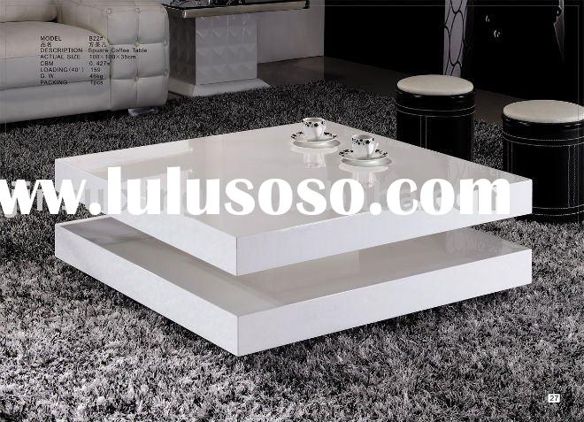 High Gloss Coffee Table, White Wooden B22#