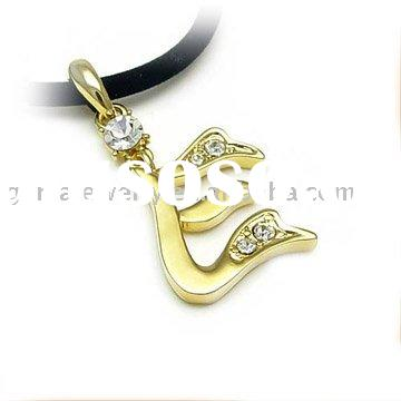 Hot Sale Fashion Initial Script Letter E Style Jewelry Necklace With Imitation Leather Cord