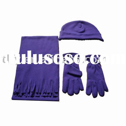 Hot sell woman polar fleece fanshion winter scarf hat gloves set