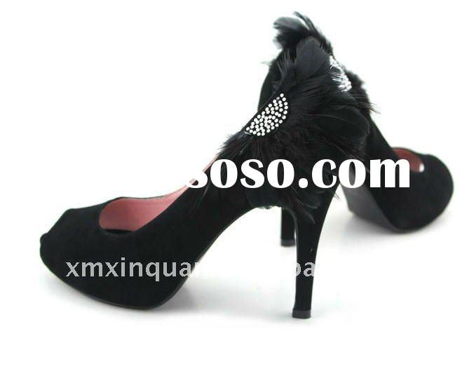 JWS068 Fashion 2011 peep toe black high heel US size 8.5 women's party shoes with feather