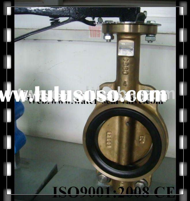 Lever oprated wafer type bronze butterfly valve