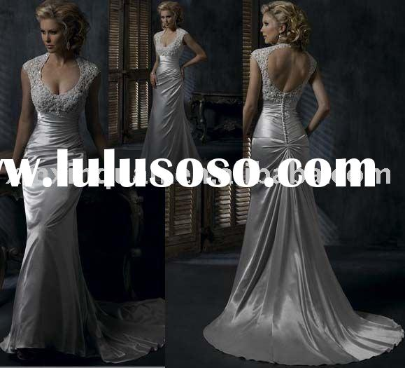 MSW415 Cap sleeve fully beaded bodice backless wedding gown