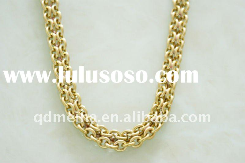 Men jewelry metal brass big chain 18k gold plated necklace