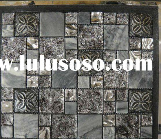 Metal mix stone marble mosaic table