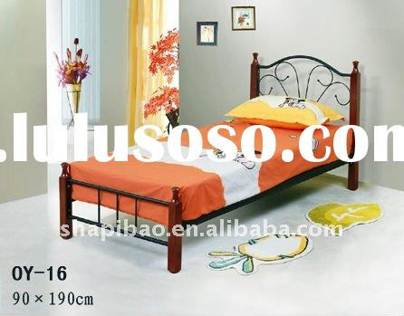 Modern/elegant single/double/queen/king High quality Metal/Steel beds with wooden legs home Furnitur