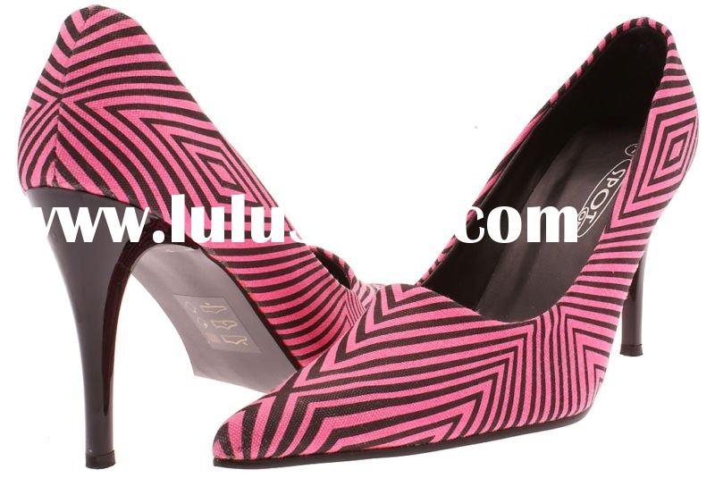 NEW WOMENS PINK BLACK STRIPE HIGH HEEL SHOES UK SIZE 5