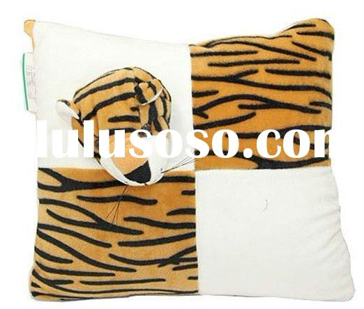 Pair of Tiger Print and White Velvet Decorative Pillows