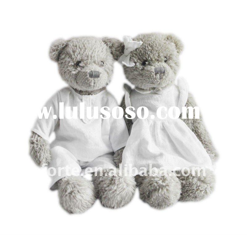 Plush Teddy Bear in White Linen fabric